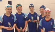 Swimmer of the month - Ethan Howard, Rosie Candler, Isabella Lewis, Mary Murray and Edward MacGuire